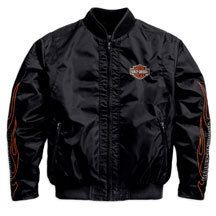 Mens Harley Davidson Flames Black Nylon Bomber Jacket