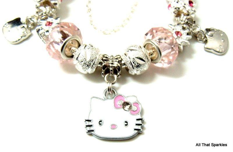 Pink Hello Kitty Child Girl Charm Bead Bracelet