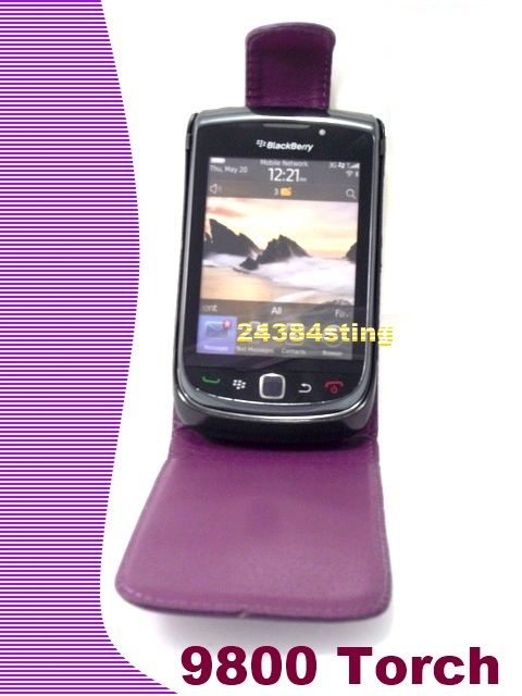 LEATHER FLIP CASE COVER POUCH for BLACKBERRY 9800 TORCH