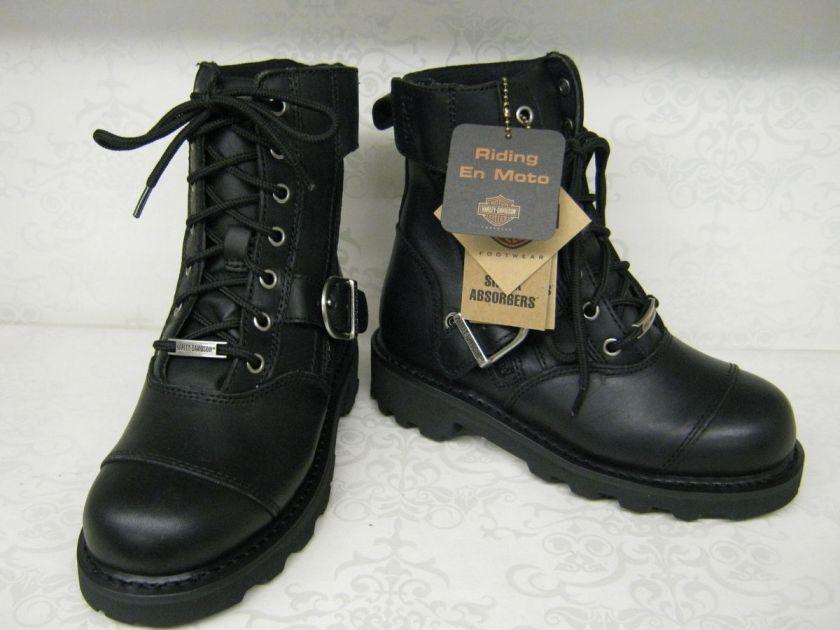 Ladies Harley Davidson Legend Black Leather Lace Up Boots