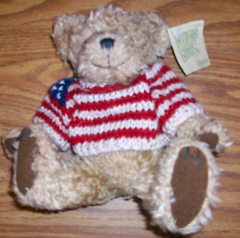 STUFFED TEDDY BEAR tan FLAG SWEATER GIBSON toy boy gir